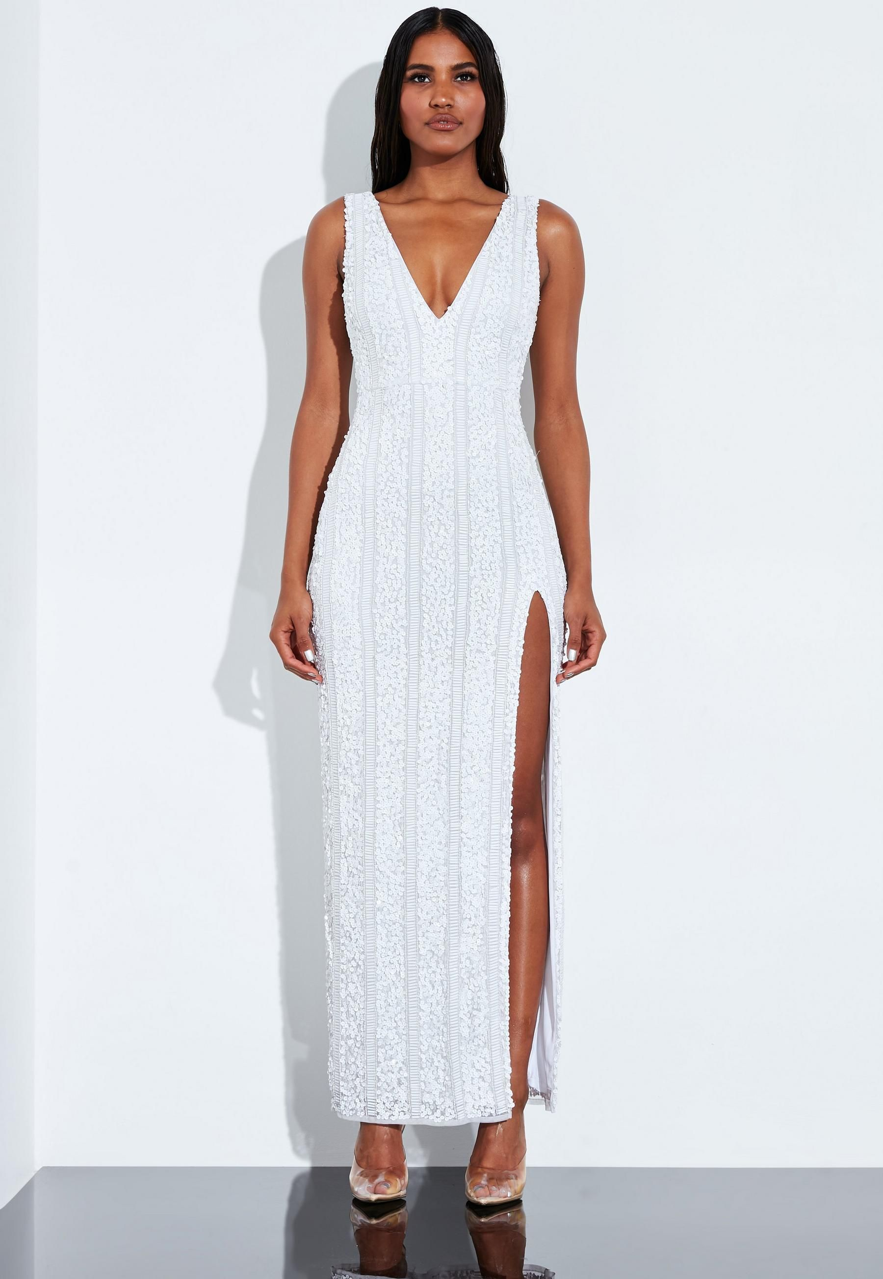 Peace Love White Plunge Embellished Split Maxi Dress Missguided Split Maxi Dress Maxi Dress Dresses