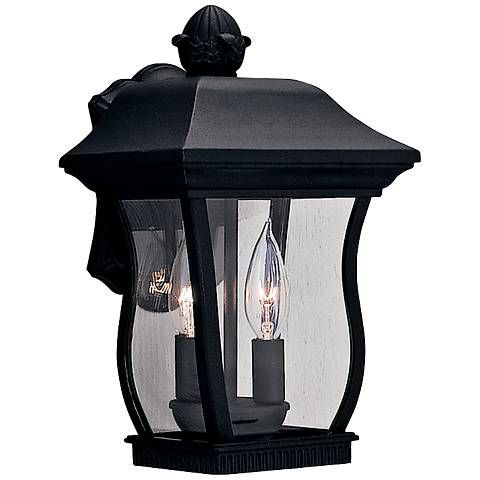 Chelsea 13h 2 light clear glass black outdoor wall light m0077