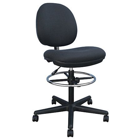 Charmant Brenton Studio® Cosimo Fabric Mid Back Drafting Stool, Black/Chrome Office  Depot $110