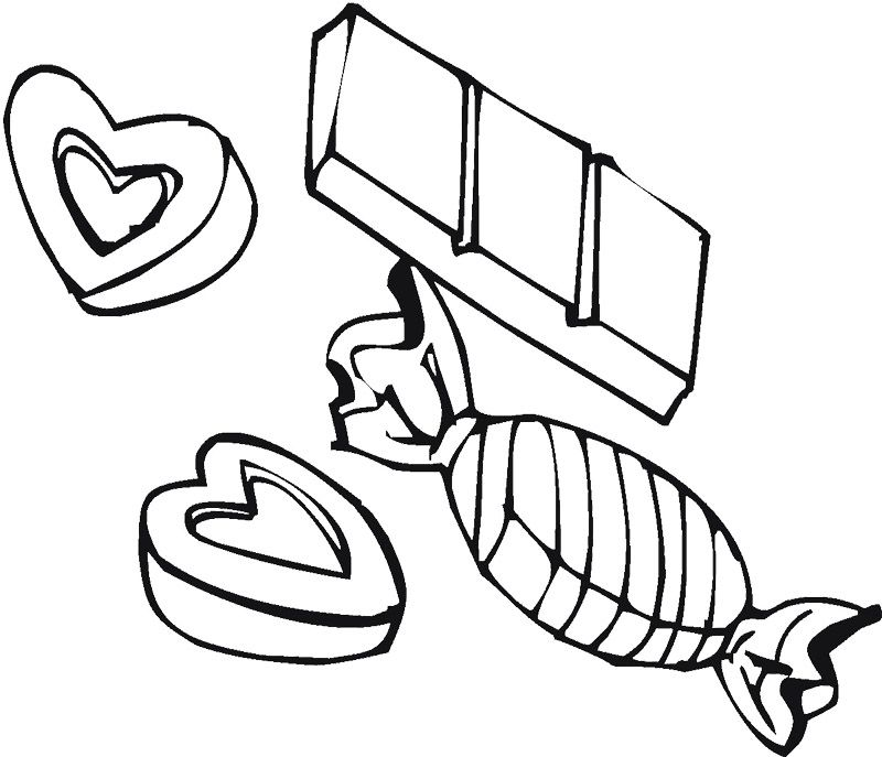 Chocolate Candies And Hearts Coloring Page Chocolate Pinterest