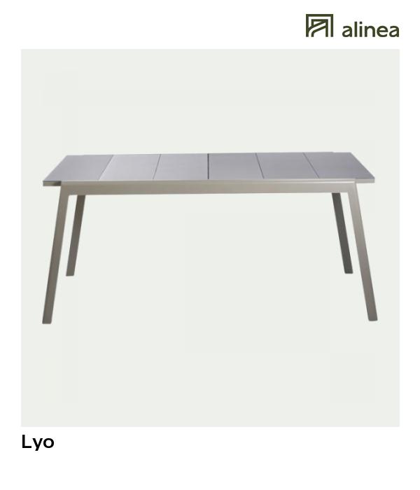 alinea : lyo table de jardin extensible kaki en verre trempé et ...