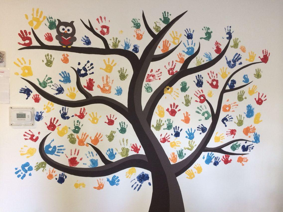 Handprint tree painted on wall. Wall decoration children