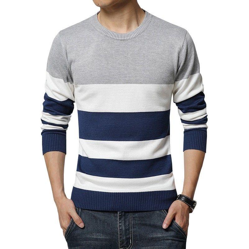 Camiseta Sueter de Frio Tricotado Listrado Masculino Pulôveres ... 4328db8378f