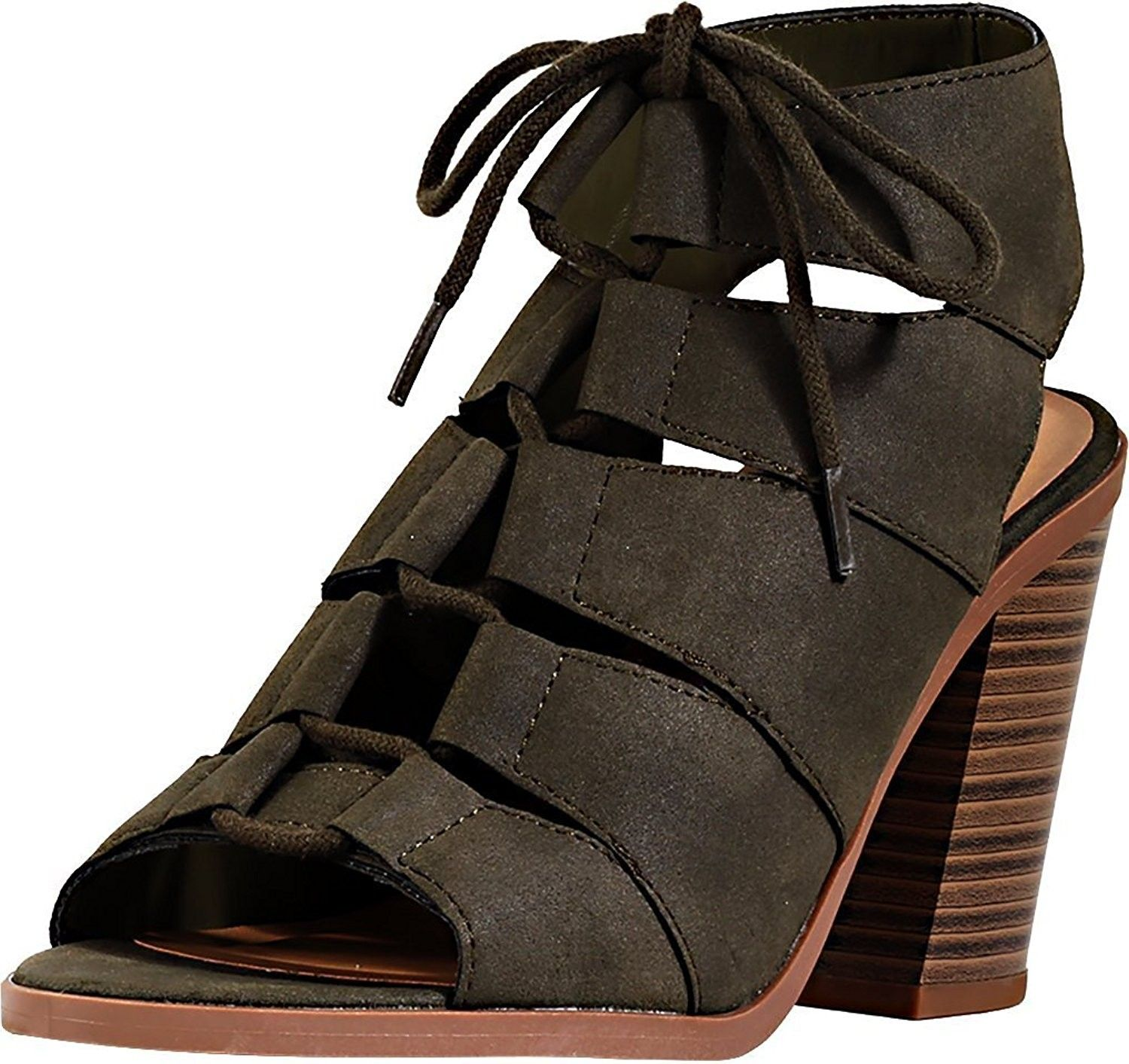 fe1824c60a4d Women s Quince Faux Leather Peep Toe Lace Up Gladiator Slingback ...