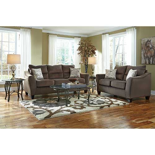 Woodhaven central park 7 piece living room group in mocha - Woodhaven living room furniture collection ...