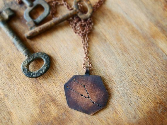 Zodiac necklace Taurus  constellation pendant  by AlexMalexDesigns, $35.00