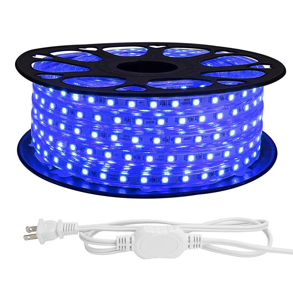 Le 82ft Led Strip Lights 120 Volt 189w 1500 Smd 5050 Leds Waterproof Flexible Blue Etl Listed Plug In Led Strip Lighting Led Rope Lights Strip Lighting