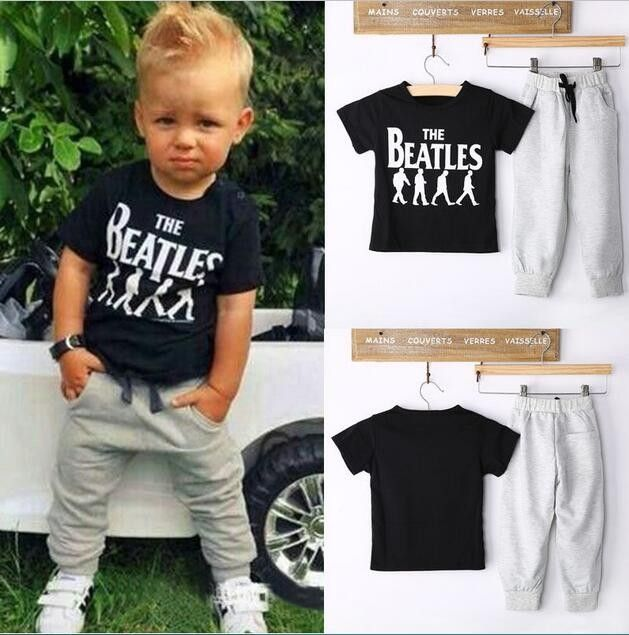 2pcs Toddler Kids Baby Boys Short Sleeve T-Shirt+Casual Pants Clothes Outfit Set