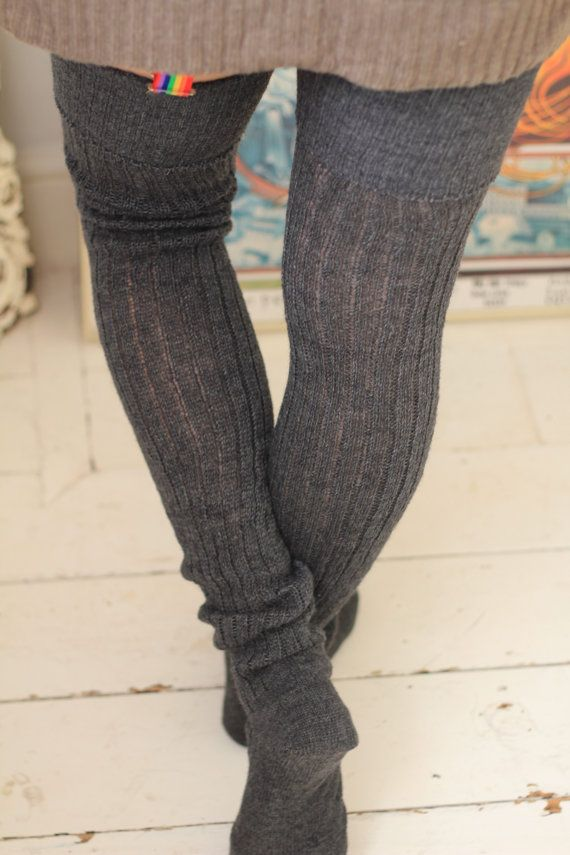 93daed5e5ea06 EXTRA Long GREY Thigh High Socks - RIBBED Tall Socks better than Leg ...