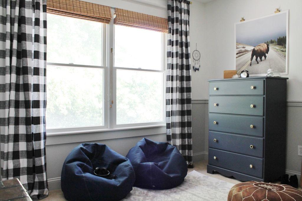 Rustic Tween Room Reveal #cityloftsherwinwilliams Rustic Tween Boys Room-Navy Blue Bean Bag Chairs #cityloftsherwinwilliams
