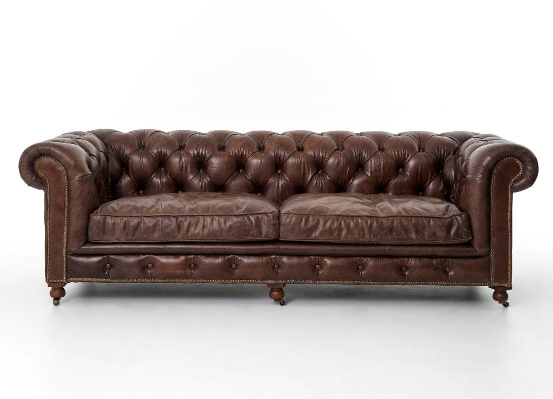 Huth Grain Chesterfield Leather Sofa Brown Leather Sofa Leather