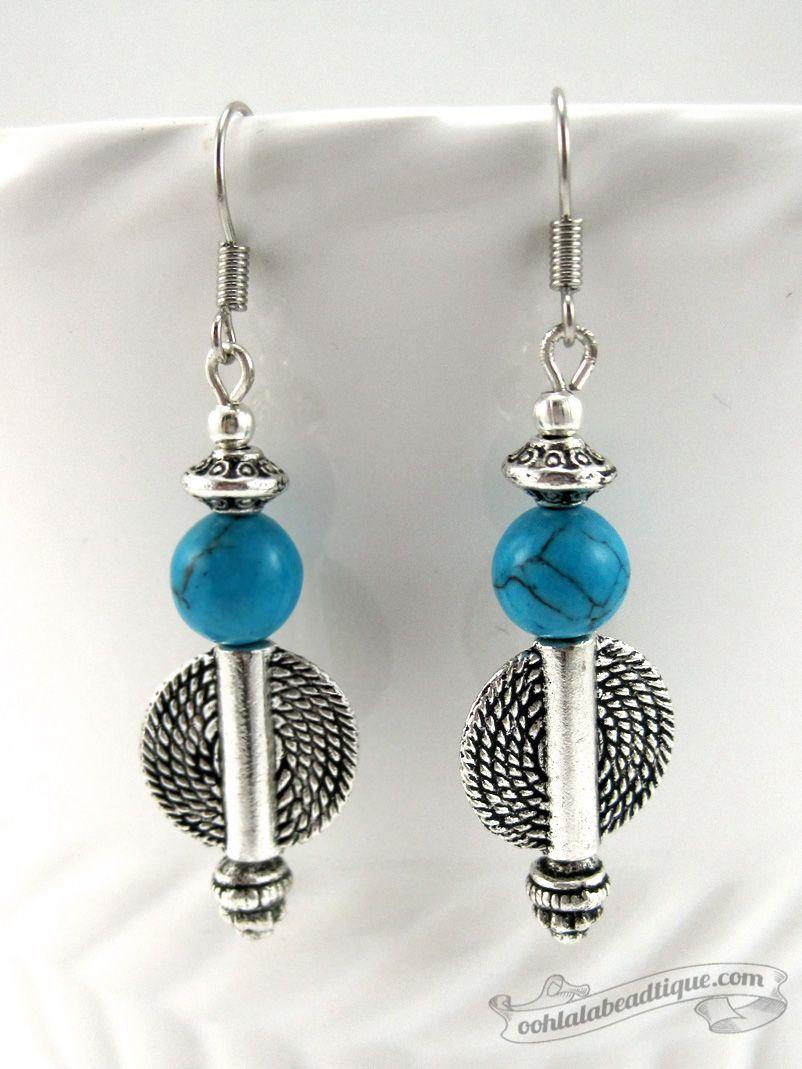 Boho Turquoise African dangle earrings $12.00 Ladies ...