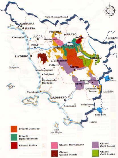 Cartina Toscana Provincia Di Siena.Toscana Mappa Guida Dei Vini Mappa Dell Italia
