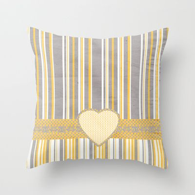 Gray & Yellow Graphic Throw Pillow by Correen Silke