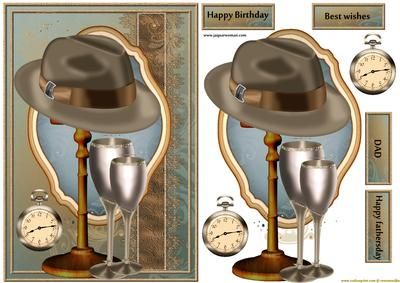 Male card Gentleman s Hat on Craftsuprint designed by Marijke Kok - Male card design with a gentleman's hat, wine,and a pocket watch,for birthday.fathersday/other occasion. - Now available for download!