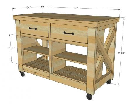 Rustic X Kitchen Island  Double Plans Included  Diy Decorating Amazing Rustic Kitchen Cart 2018