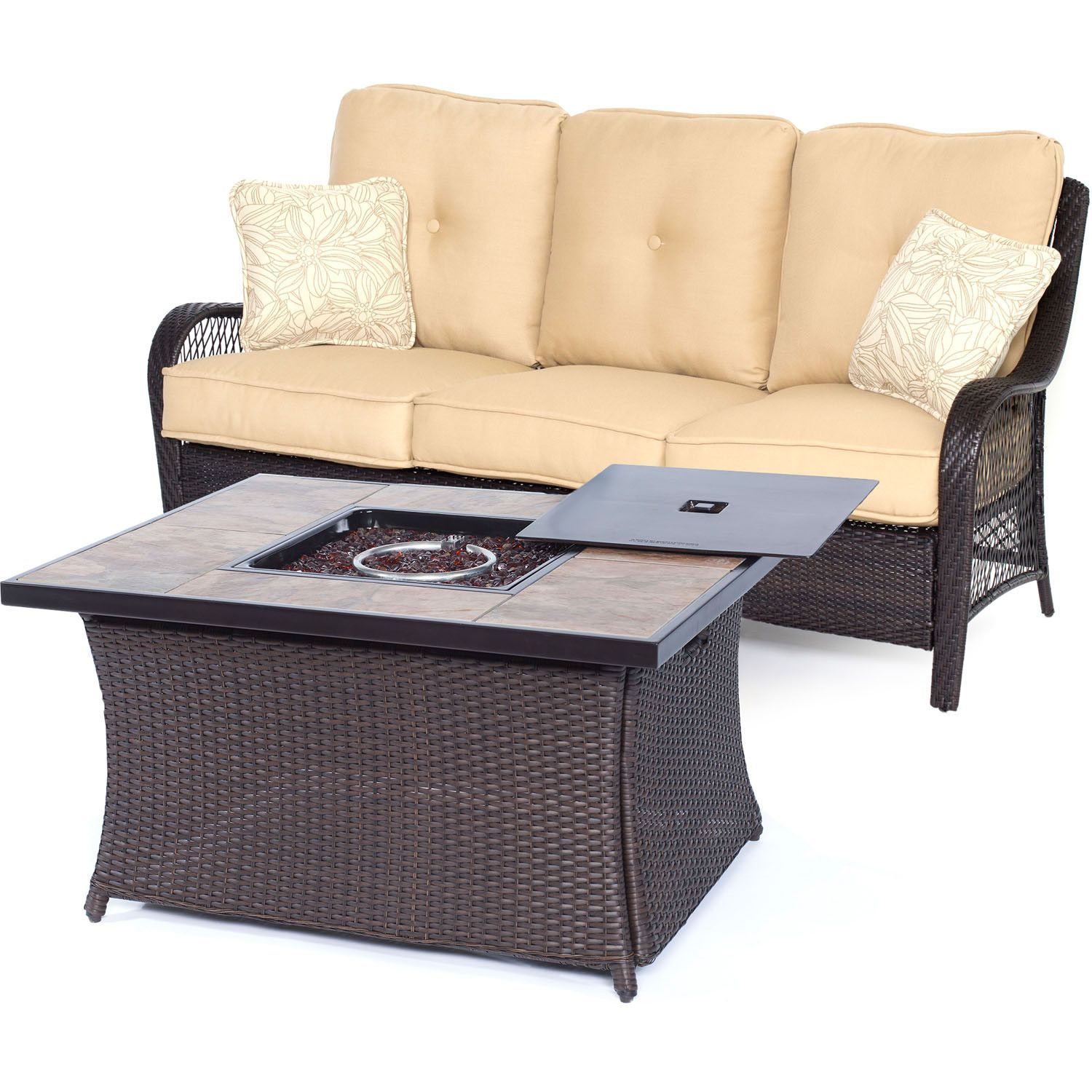 Orleans2pc FP Seating Set Sofa Fire Pit Coffee Table w