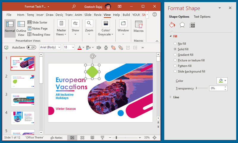 Format Task Panes in PowerPoint 365 for Windows Text