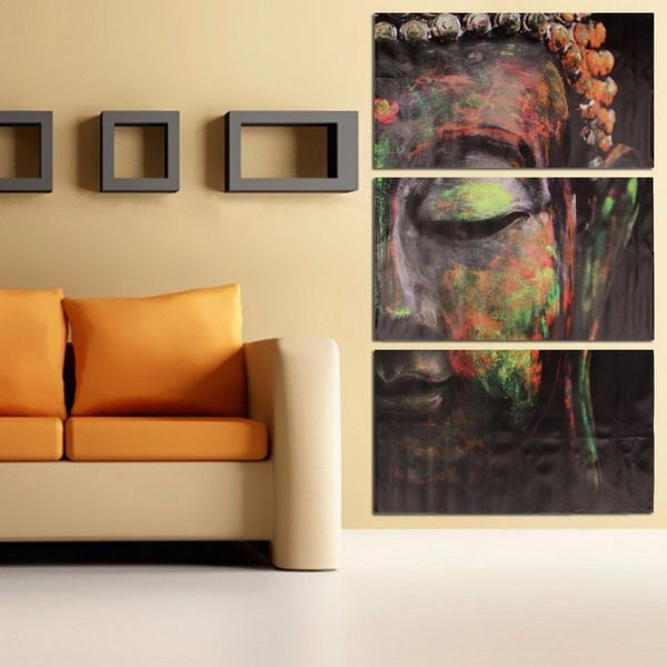 40x60cm Buddha Statues Triple Frameless Canvas Prints Oil Painting ...