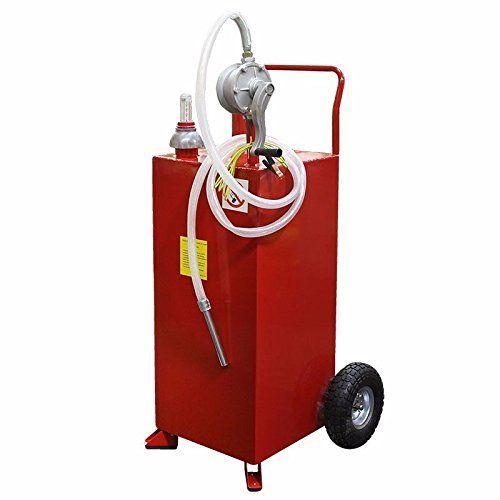 Ghp 30 Gallon Capacity Gasoline Fuel Tank Caddy Storage Container W Rotary Pump Storage Tank Transfer Tanks Fuel Storage