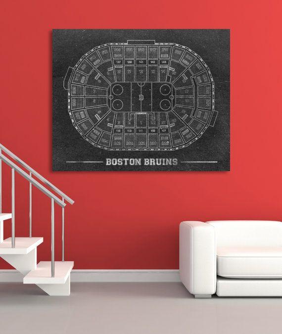 Vintage Style Boston Bruins Td Garden Blueprint Print By Clavininc