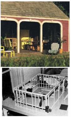"""Helen & James Dorsett (1985). 1930s New England Garden Shed. Complete plans, patterns, and instructions in 1"""":1' scale. In The Scale Cabinetmaker, Volume 9:2. Issue is available as digital download. Issue price: $6."""
