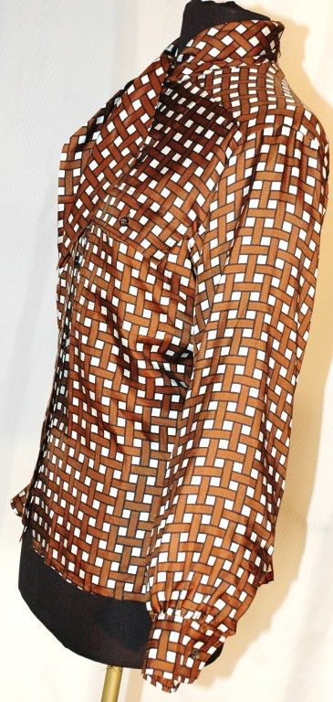 Vintage Yves Saint Laurent YSL Rive Gauche Silk Blouse w Scarf