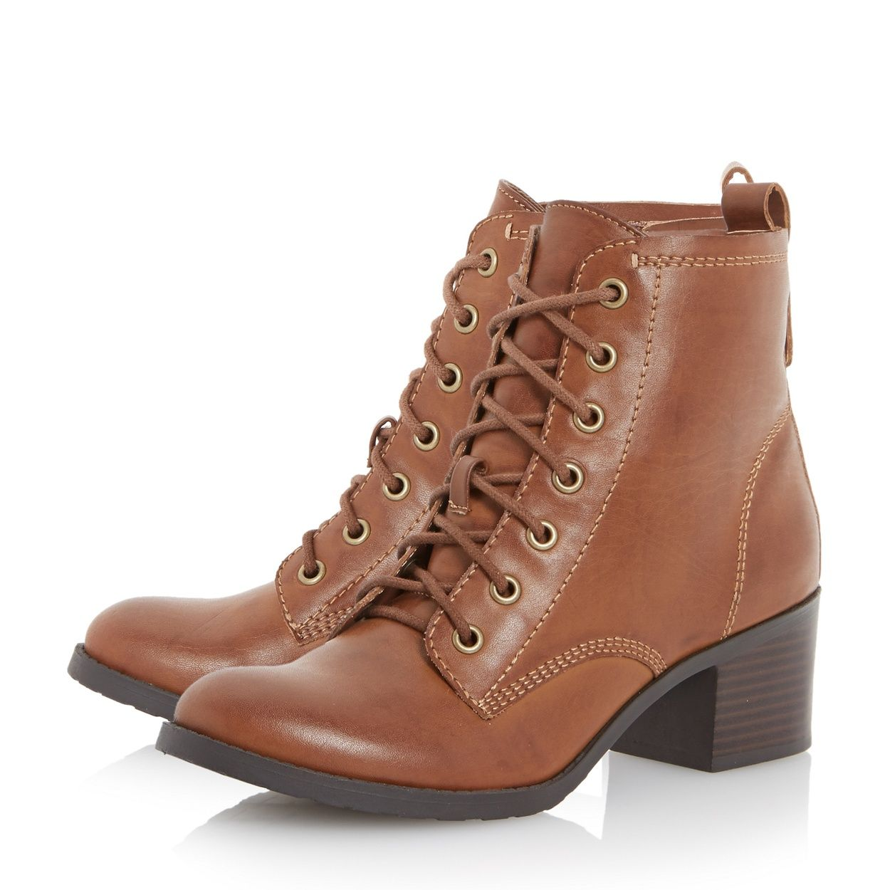 Channel some 80s Brat Pack glamour with this heeled cleated sole boot. It comes with a medium block heel, metal eyelet lacing and a rounded toe. Team it with lace tights, tube skirt and batwing sweater for a retro look.