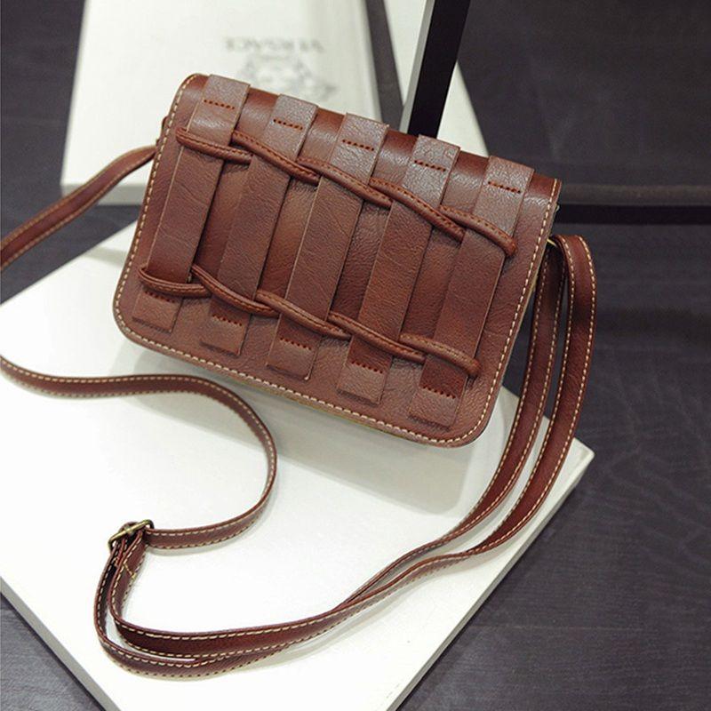 7241b50cfe58 Fashion Women Bag Weave PU Leather Handbags Women Messenger Bags Vintage  Small Bolsa Feminina Flap Bag