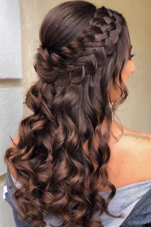 60 Quinceanera-Frisuren für langes Haar #promhairupdowithbraid