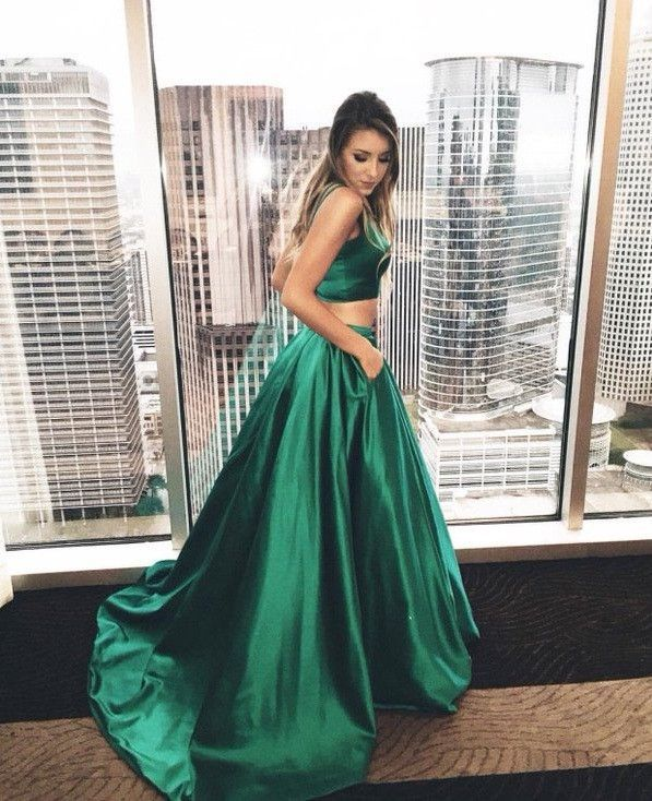 5df5d106157 Emerald Green Prom Dress,Two Piece Prom Dress,Crop Top Prom Dress,Robe De  Bal,MA030