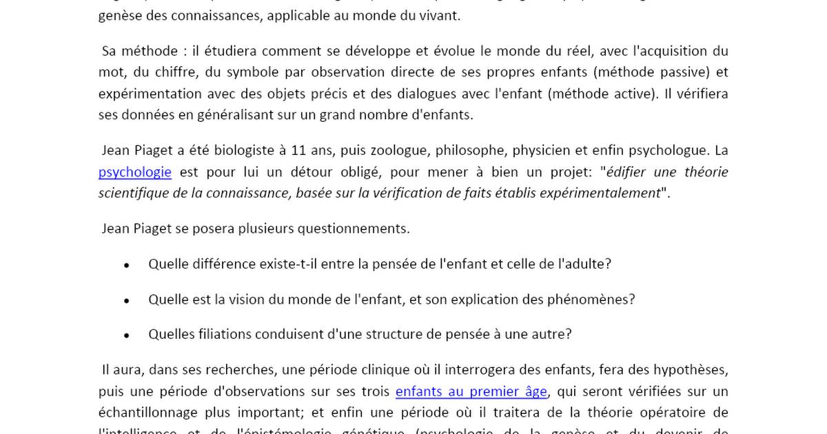 Résumé de la pensée de Jean Piaget Document format word