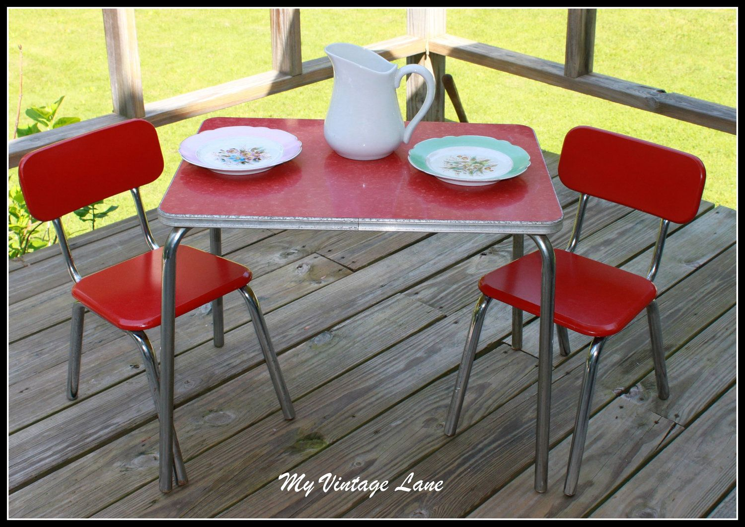 Vintage Table And Chairs New River Adirondack 1950 S Childrens Chair Set Yesteryear By Myvintagelane