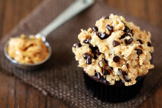 chocolate cupcakes with peanut butter cookie dough frosting - I would probably make the cupcake from scratch and not from a box.