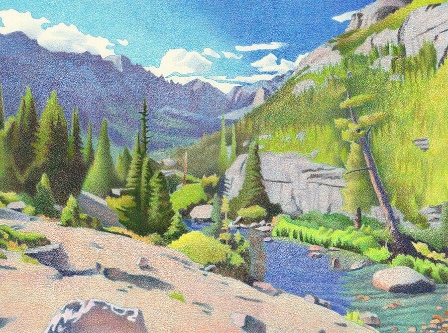 Glacier Gorge Drawing by Dan Miller