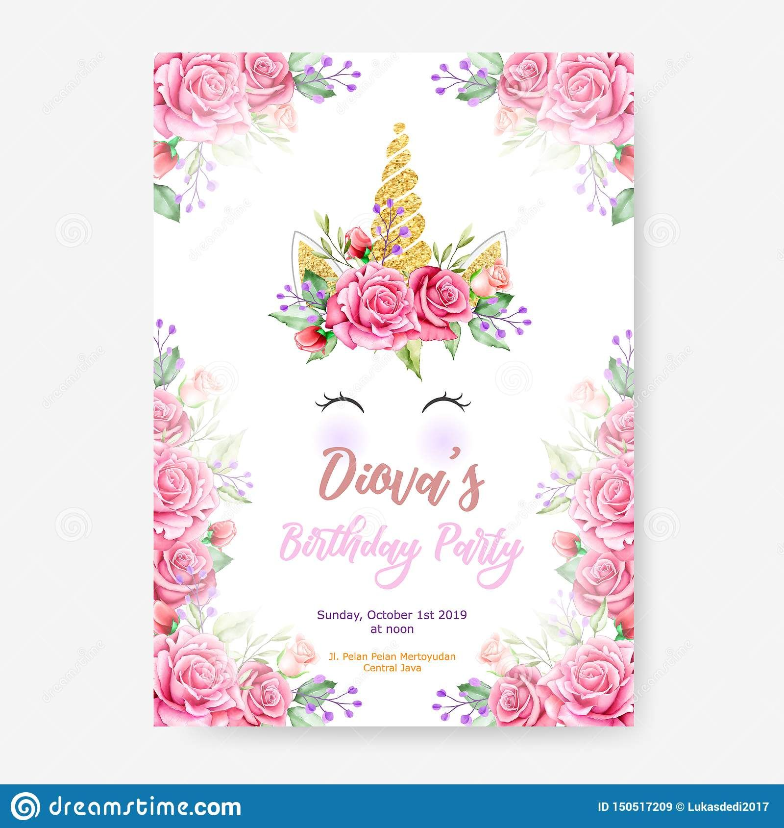 Pin By Mizan On Islam Unicorn Invitations Flower Frame Party Poster