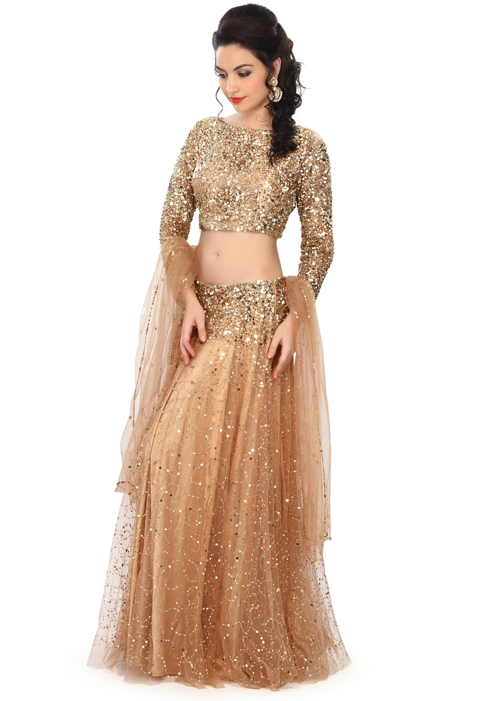c7ca68ab232b6 Gold lehenga embellished in sequin embroidery only on Kalki in 2019 ...