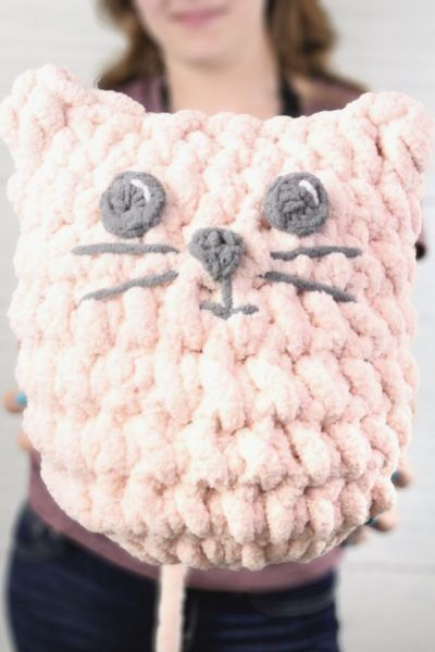 Easy Blanket Yarn Kitty Pillow | Super-Sized Stuffie | Free PDF Download