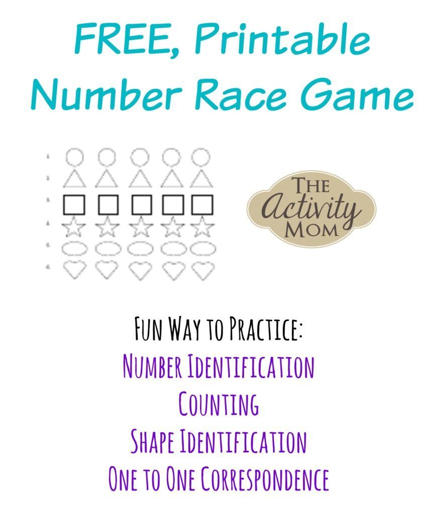 Free Printable Number Race Game