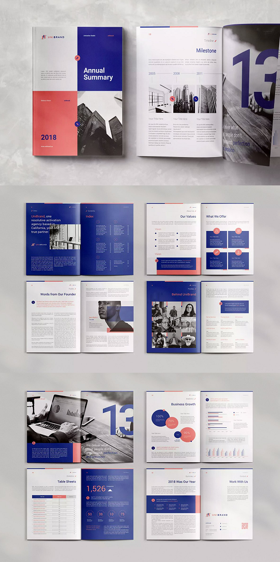 "Annual Report is editorial layout template with 20pp Indesign document/template and designed in both A4 (297x 210mm) and US Letter (8.5x11""). The template is designed for those wanting to present images alongside text in a stylish and elegant way.  #Annual #Report #editorial #layout #template #annualreports"