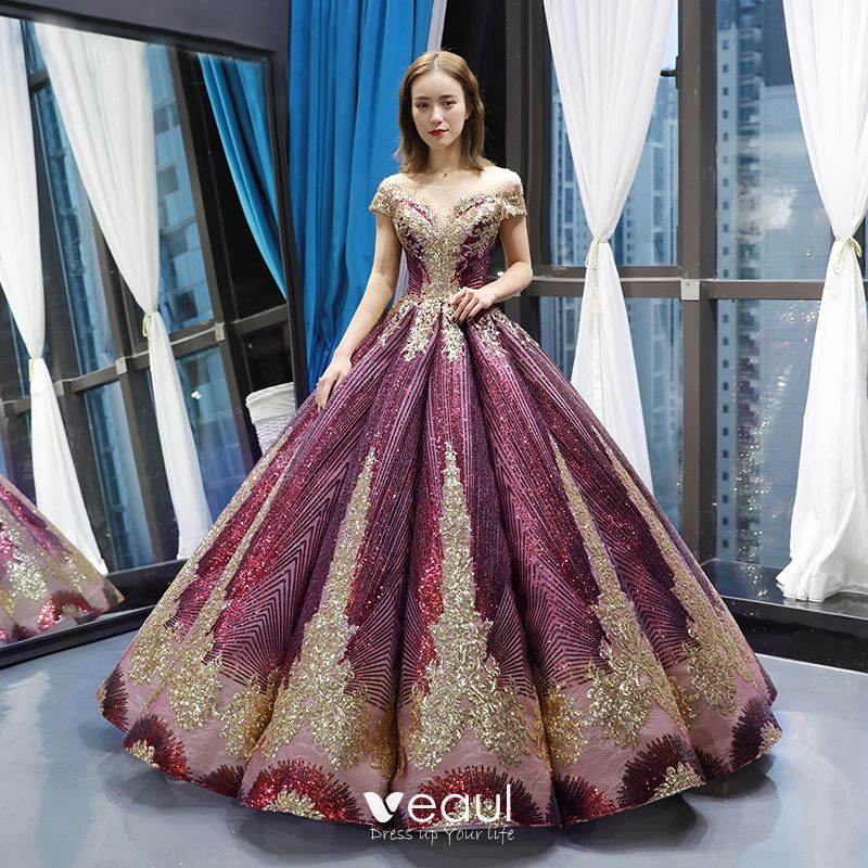 Elegant Embroidery Embellishment Ball Gown Traditional: Sparkly Grape Dancing Prom Dresses 2020 Ball Gown See