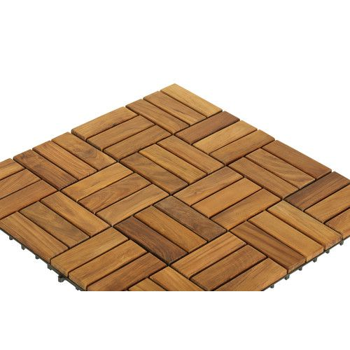 Ez Floor 12 X 12 Wood Interlocking Deck Tile In Natural Interlocking Flooring Deck Tile Wood Tile Floors