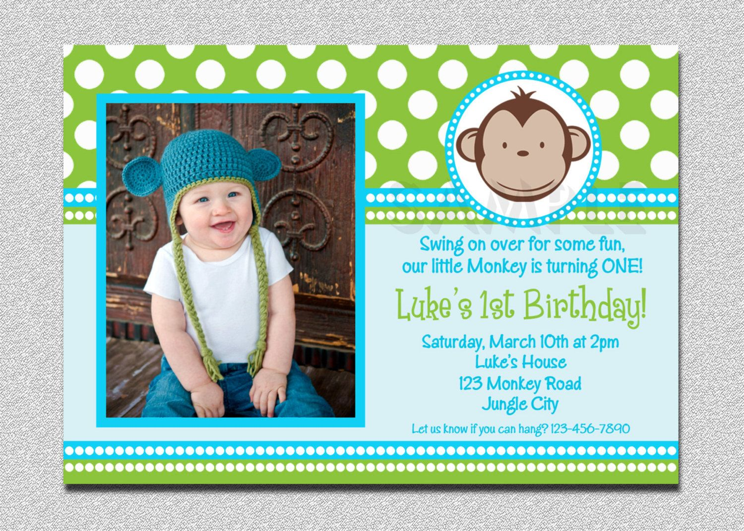 Nice FREE Template Free Printable Monkey Birthday Invitations