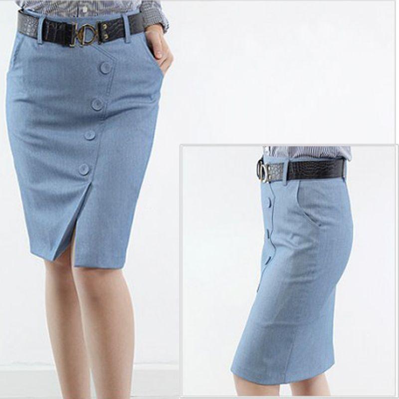 s 3xl plus size buttons slit hem high waist formal