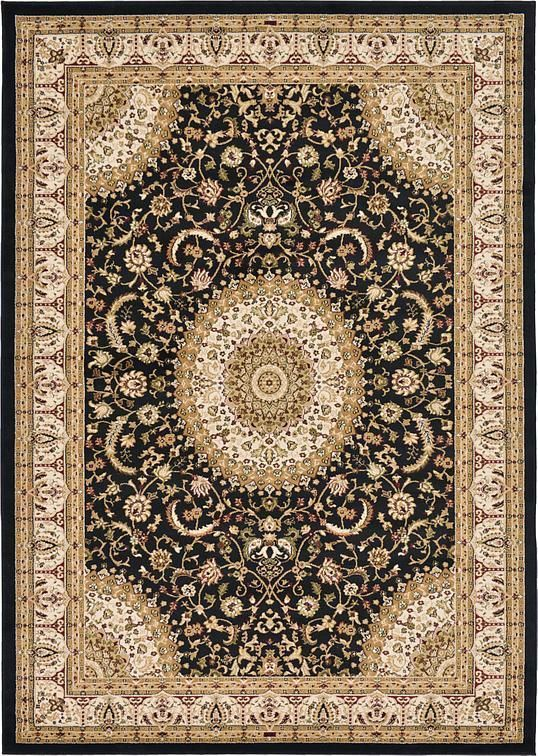 Black 7 X 10 Mashad Design Rug Area Rugs Black Area Rugs Area Rugs Rugs On Carpet