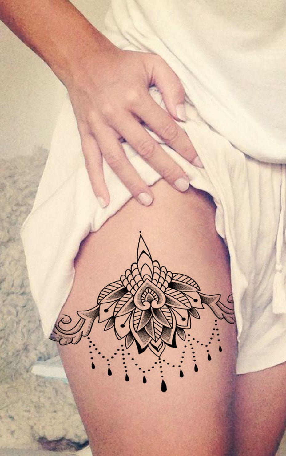 Ceylon Lace Lotus Chandelier Temporary Tattoo Thigh Tattoos