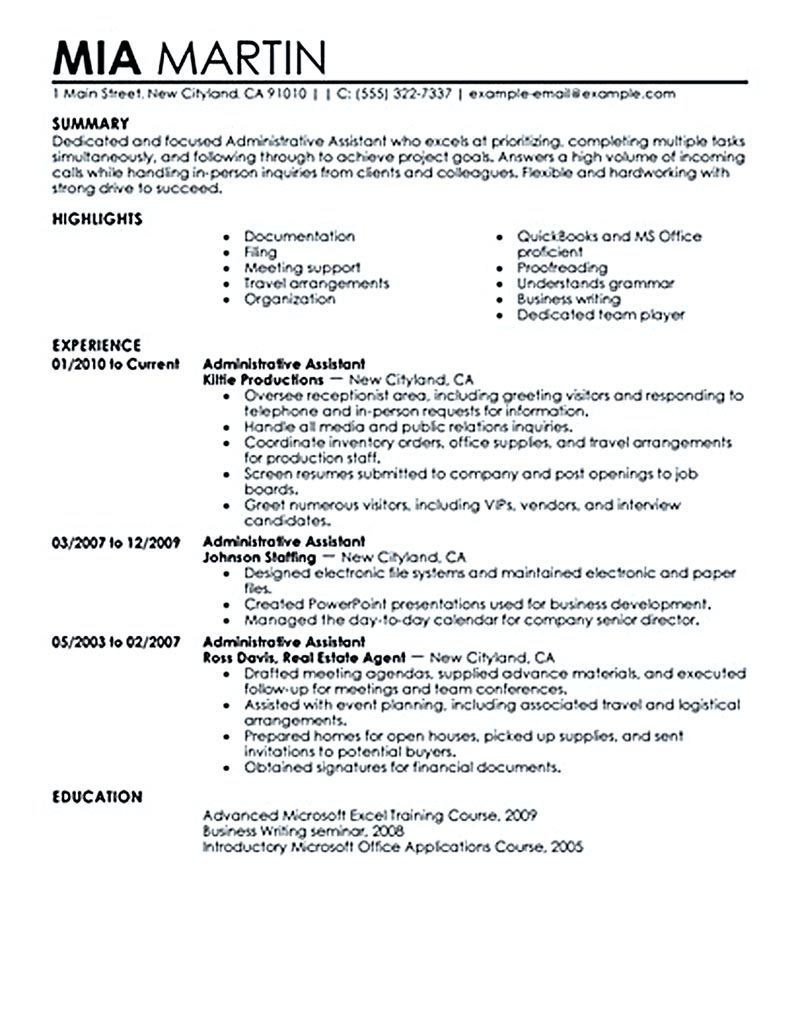 Sample To Make Administrative Assistant Resume Administrative