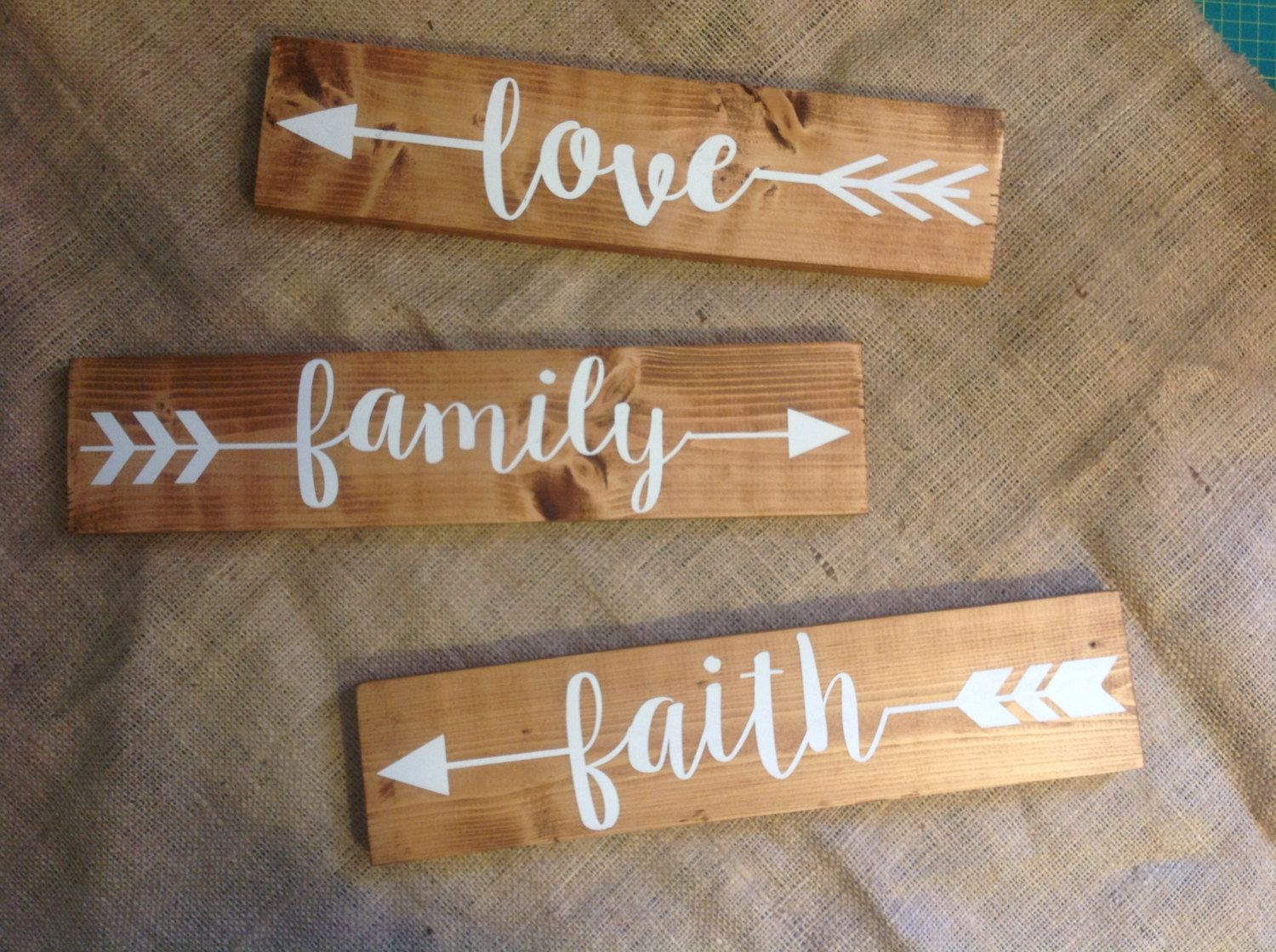 ARROW Wood Sign   (pick One)   Rustic Sign  Family, Love, Faith, Home,  Explore, Memories, Gather, Laugh  Hand Painted, Home Decor