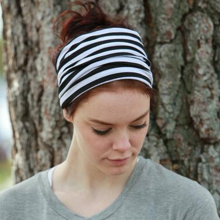 Wide Headband   Striped Headwrap for Women   Adults   Black White ... ffd921c4ded