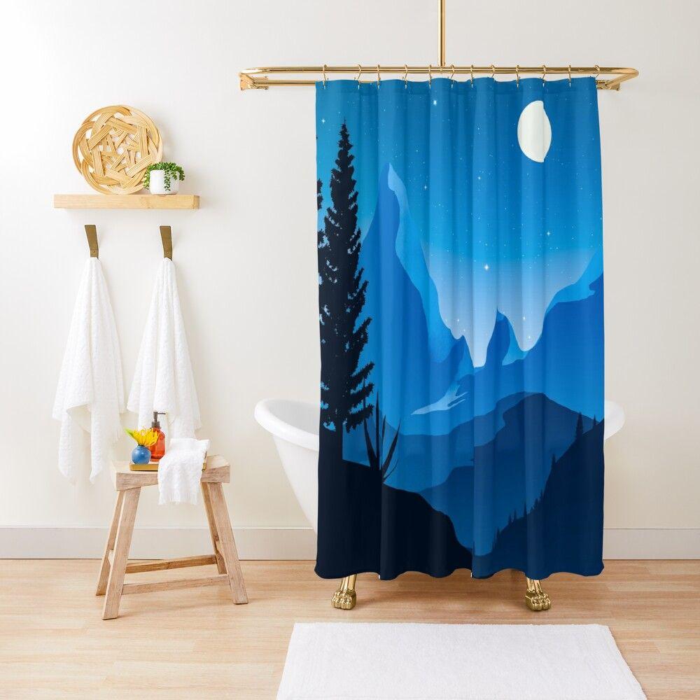 Wilderness Blue Night Shower Curtain By Trajeado14 Curtains Shower Curtain Designer Shower Curtains